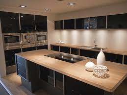 modern home kitchen design ideas with black island also cabinetry