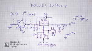 simple adjustable power supply ec projects com