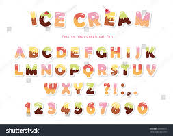 ice cream font cute wafer letters stock vector 594050072