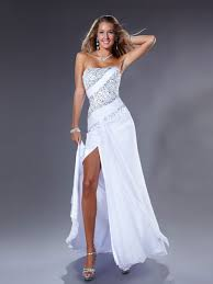 pure white satin chiffon sequined top side slit full length a line
