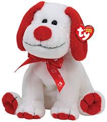 dog ribbon ty beanie baby heartbeat white sitting dog with
