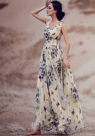 maxi dresses beige butterfly print sleeveless bohemian chiffon maxi dress