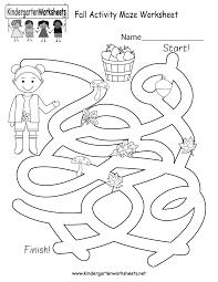 fall activity maze worksheet free kindergarten seasonal
