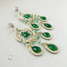 emerald green earrings sterling silver gold large chandelier earrings emerald green