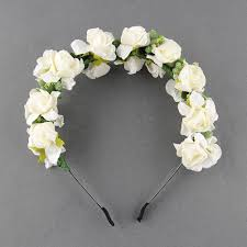 flower garland floral bridal headband hairband wedding prom pink