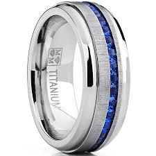 titanium wedding bands reviews men s titanium wedding band engagement ring w blue simulated