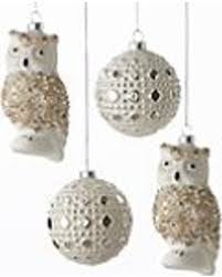 amazing deal on snowcapped owl 4 glass ornament set by lenox