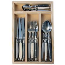 laguiole set 24 pieces nordic mix in wooden cutlery tray store