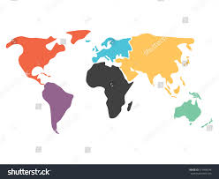 Blank Map South America by Multicolored World Map Divided Six Continents Stock Vector