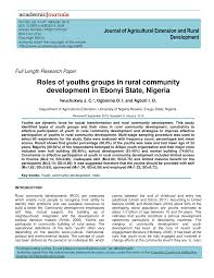 roles of youths groups in rural community development in ebonyi