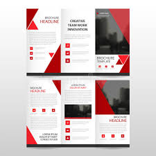 red triangle business trifold leaflet brochure flyer report