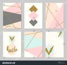 set six abstract geometric designs gold stock vector 500152531