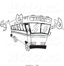 vector of a cartoon yahoo bus loaded with cowboys coloring page