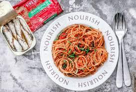 King Oscar Sardines Mediterranean Style - five ingredient weeknight pasta with sardines and tomatoes