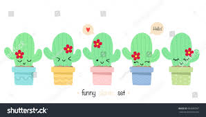 set cute cactus flat style funny stock vector 503685397 shutterstock