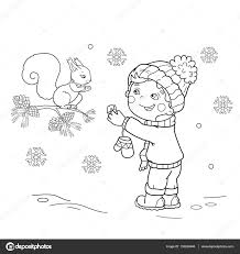 coloring page outline of cartoon boy feeding a squirrel winter