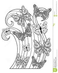 zentangle vector flying butterflies for anti stress colori