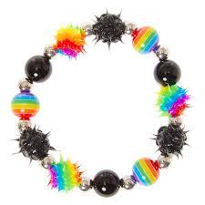 beaded black bracelet images Rainbow black rave ball beaded bracelet claire 39 s us jpg