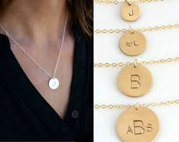 14k Gold Initial Disc Necklace Gold Disc Necklace Etsy