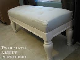 Diy Tufted Storage Ottoman furniture black leather tufted bench with dark wood frame and diy