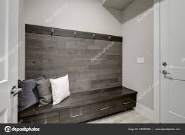 Gray Accent Wall by Gray Foyer Features Half Wood Plank Accent Wall U2014 Stock Photo
