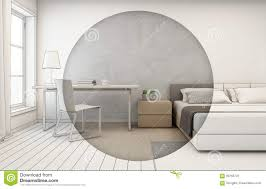 Home Temple Design Interior Bedroom With Concrete Wall Background In Modern House Interior