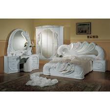 Bella Swan Bedroom Vanity White Italian Classic 5 Piece Bedroom Set