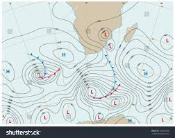 Weather Fronts Map Imaginary Weather Map Showing Isobars Weather Stock Vektorgrafik