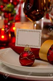 place setting place with ornament card holder