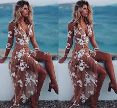 boho evening dresses v neck 3 4 long sleeves floral appliques