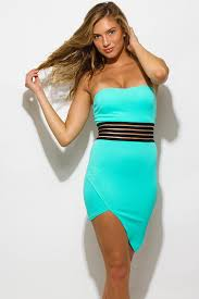asymmetrical dress shop mint blue asymmetrical hem strapless bodycon fitted club