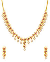 red necklace set images Buy designer necklace sets red ruby cz necklace set with pearl jpg