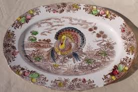 vintage japan transferware china turkey platter thanksgiving tom