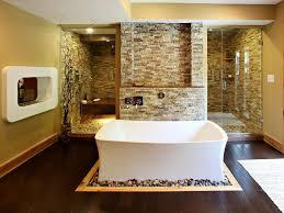 contemporary master bathroom with rain shower head by pendley