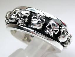 mens spinner rings 925 sterling silver skull spinner ring