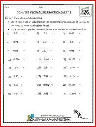 Worksheet On Converting Decimals To Fractions Converting Fractions To Decimals Worksheet Exle Rational And