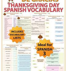 thanksgiving day vocabulary día de acción de gracias