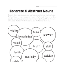 concrete and abstract nouns worksheet 1 all kids network
