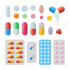 set of vector pills and capsules icons of medicament tablets
