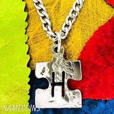Necklace Monogram Puzzle Piece Necklaces Tagged