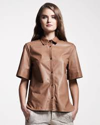 leather blouse lyst belstaff sleeve leather blouse in brown
