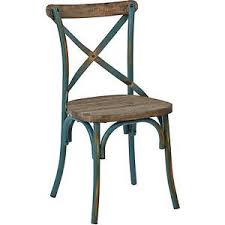 Cross Back Dining Chairs Rustic Crossback Dining Chair Distressed Industrial Turquoise