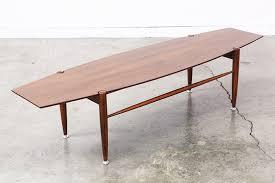 Surfboard Coffee Table Mid Century Modern Walnut Surfboard Style Coffee Table Vintage