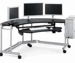 gaming desk ideas terrific ergonomic gaming desk curve shape black melamine