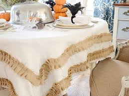 make a rustic tablecloth with ruffled burlap trim hgtv