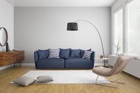 modern scandinavian living room with blue sofa my cms