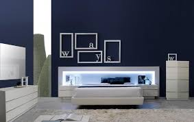 spain made bedroom set with led headboard and upholstered frame