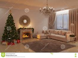 christmas living room with fireplace tree and presents stock