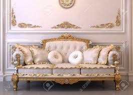 canapé royal canapé en cuir de luxe avec oreillers à royal intérieure banque d