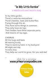 a song for minibeasts living things or insects unit children u0027s